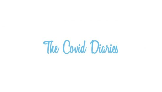 the covid diaries in a scripty blue font
