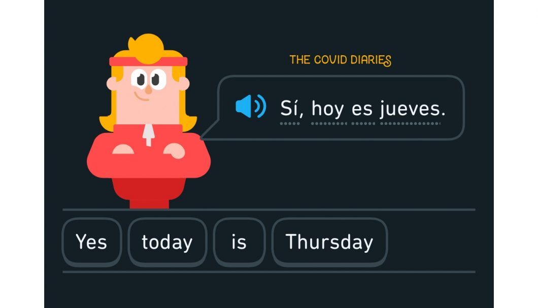 a screenshot of duo lingo that says yes today is thursday even though it is not thursday